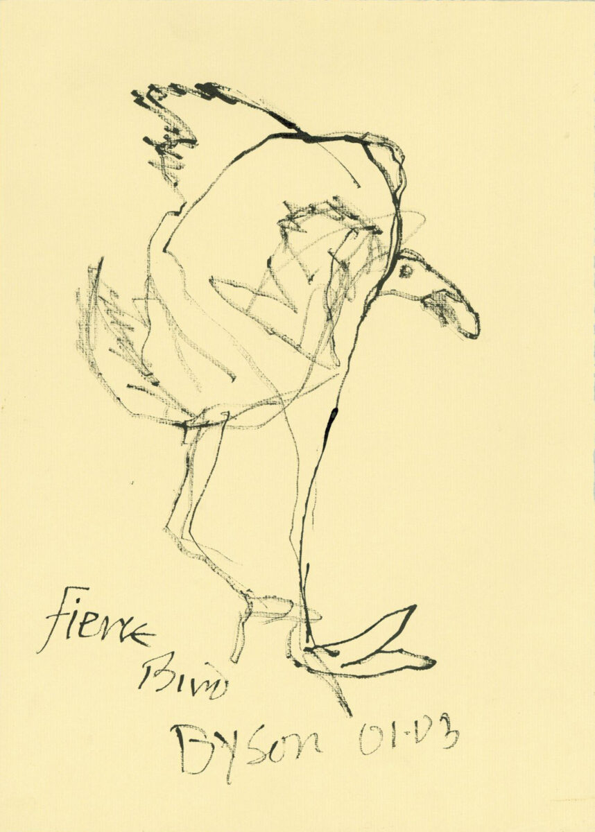 Julian Dyson Fierce original pen and ink drawing titled signed and dated