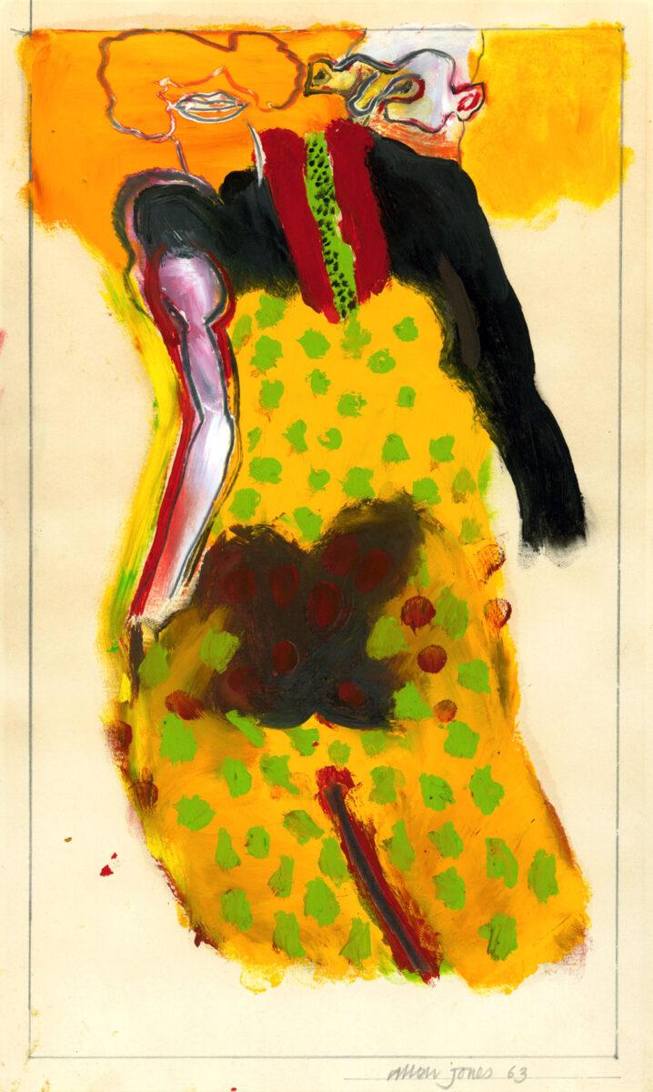 Allen Jones Untitled (Man Woman) original oil and pencil on board signed