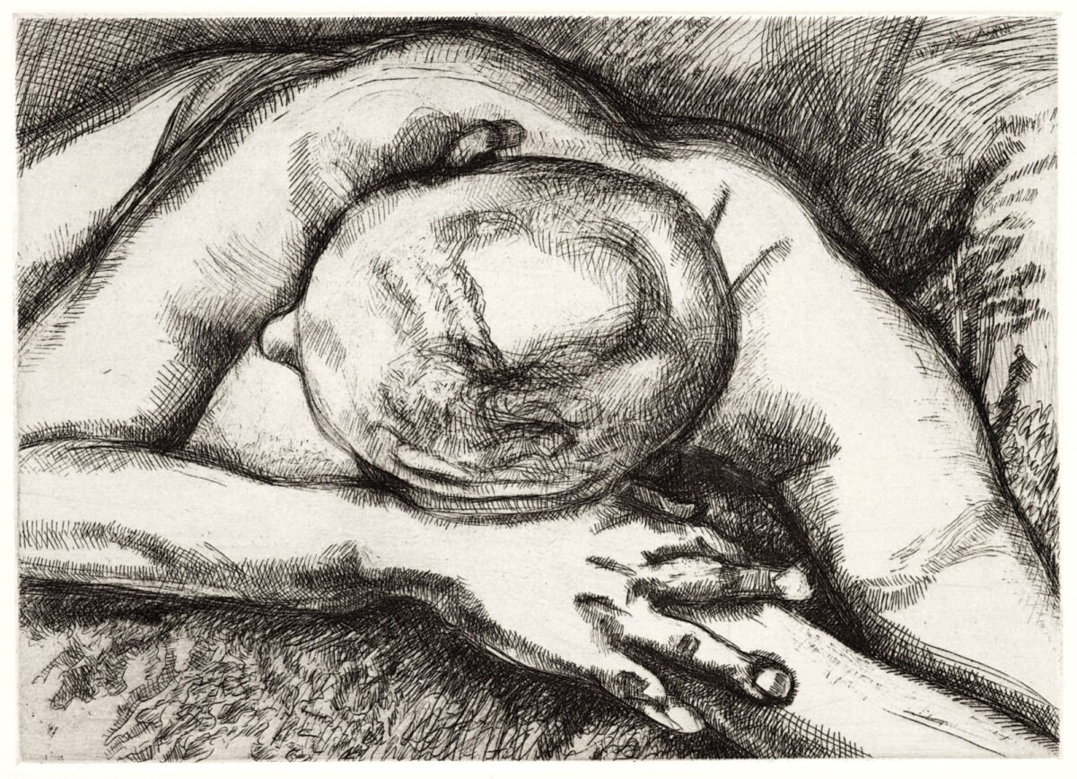 Lucian Freud Reclining Figure original signed etching for sale