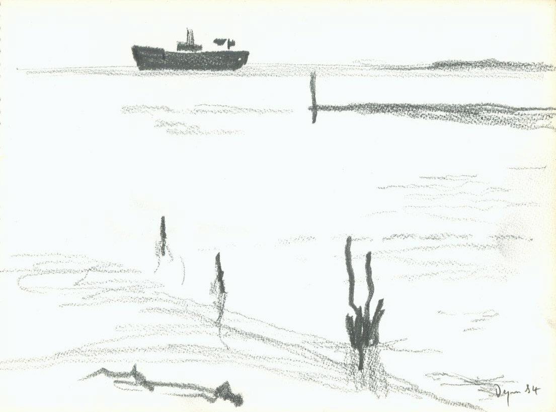 Julian Dyson Tanker Off The Coast original pencil on paper signed for sale