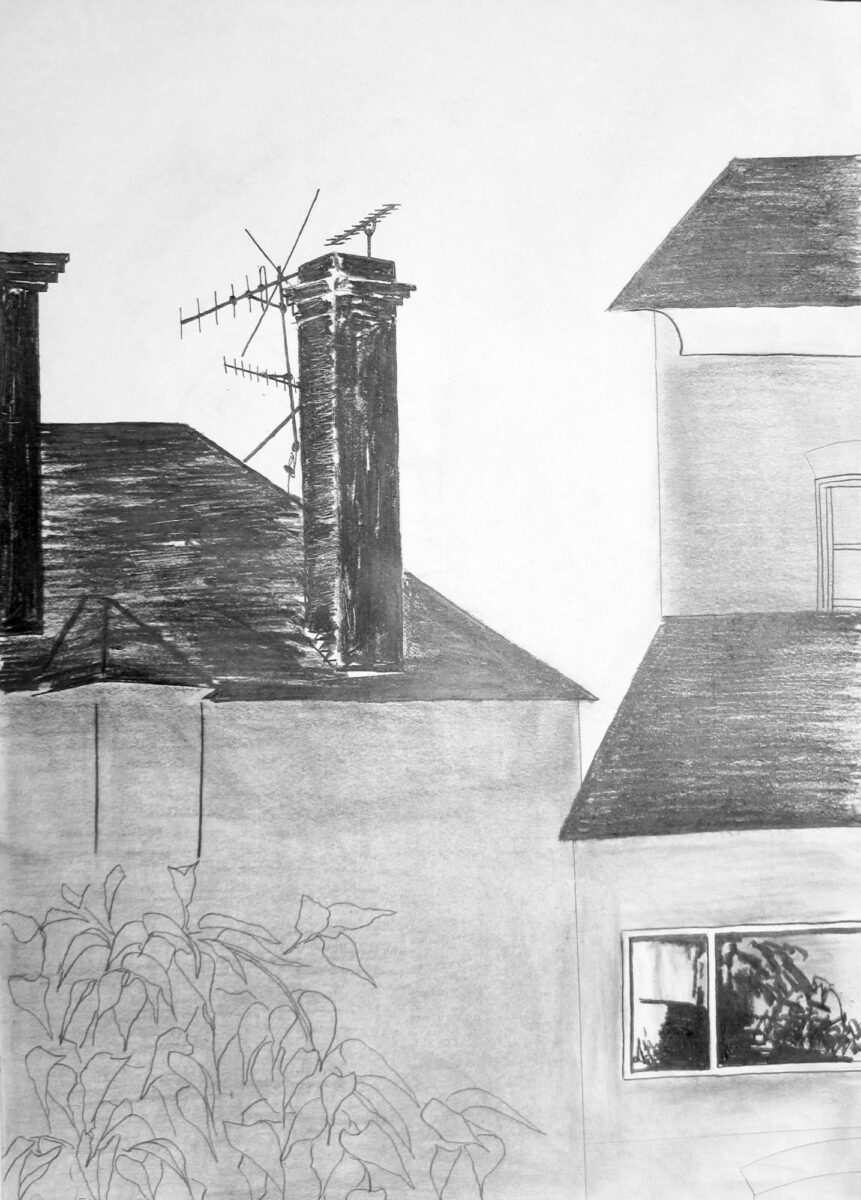 Julia Dyson Chimney Stack and Aerials original pencil on paper for sale