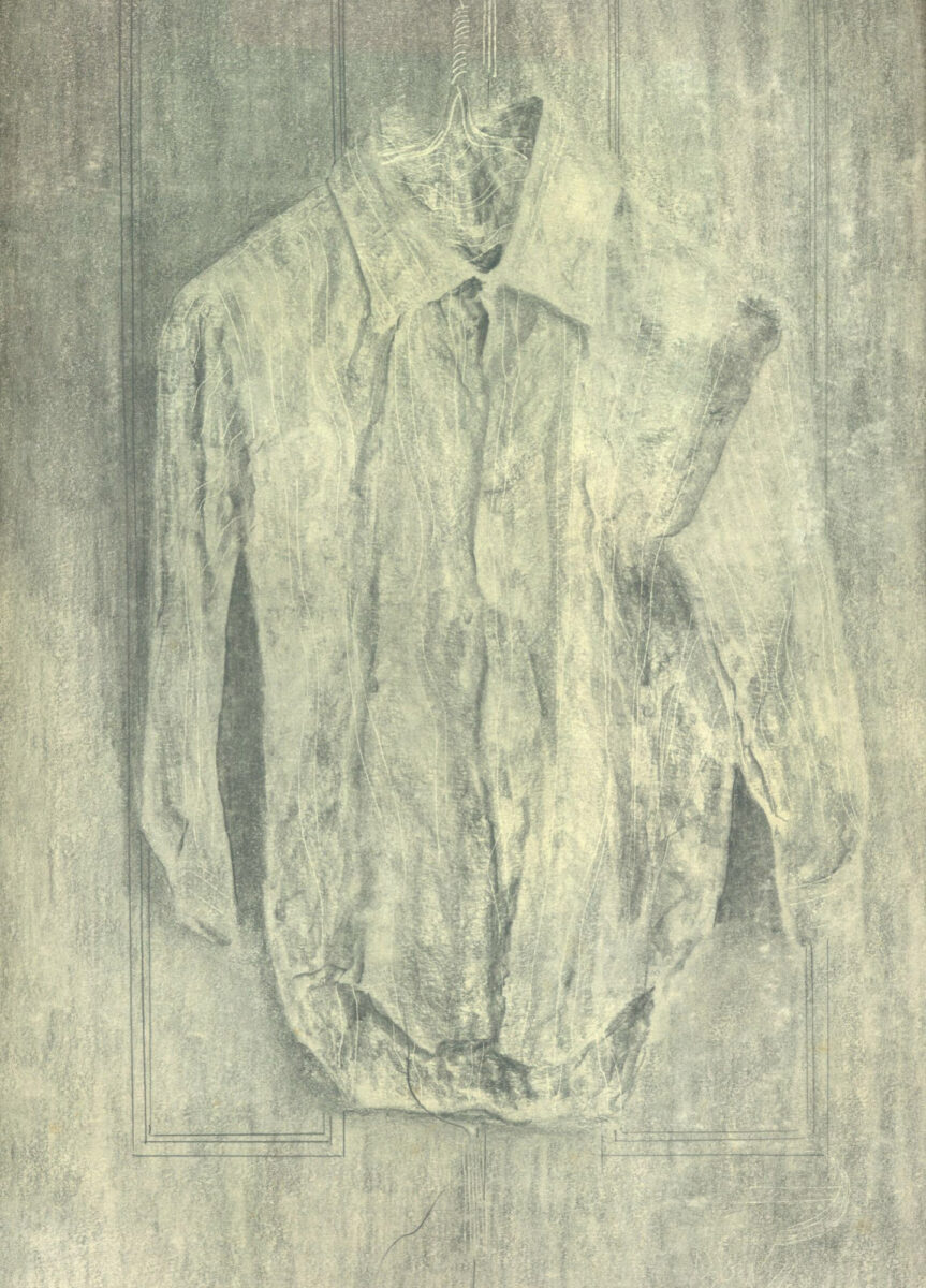 Julian Dyson Study for Crumpled Shirt on a Hanger pencil and scratching on paper framed for sale