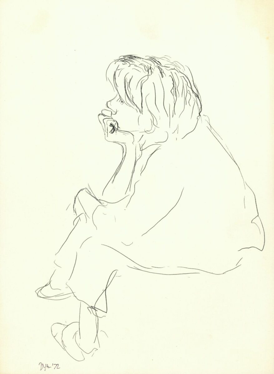 Julia Dyson Sarah Seated original pen and ink on paper signed by artist for sale