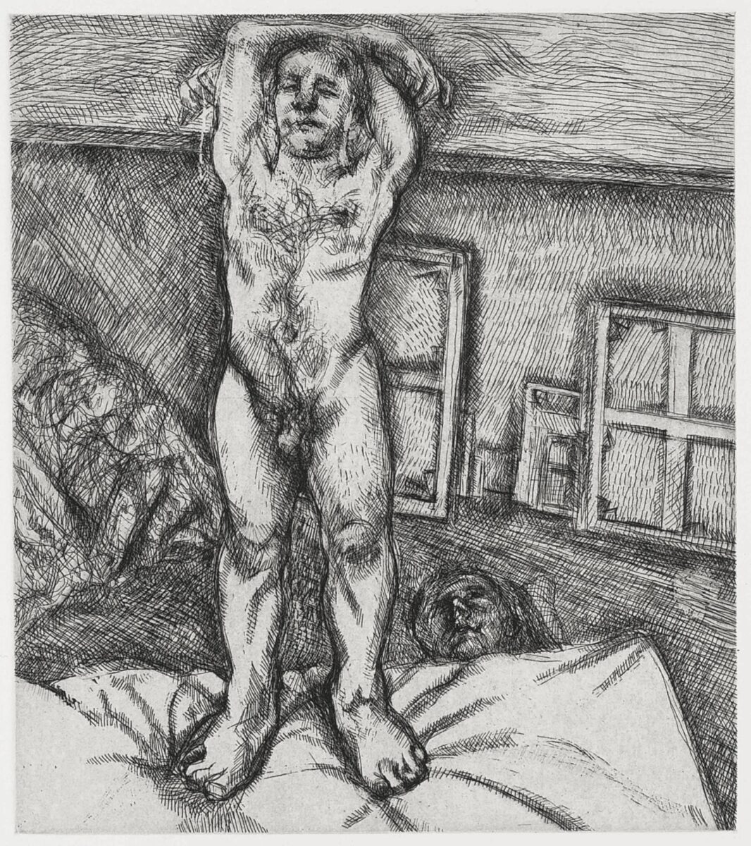 Lucian Freud Two Men in The Studio original signed etching for sale