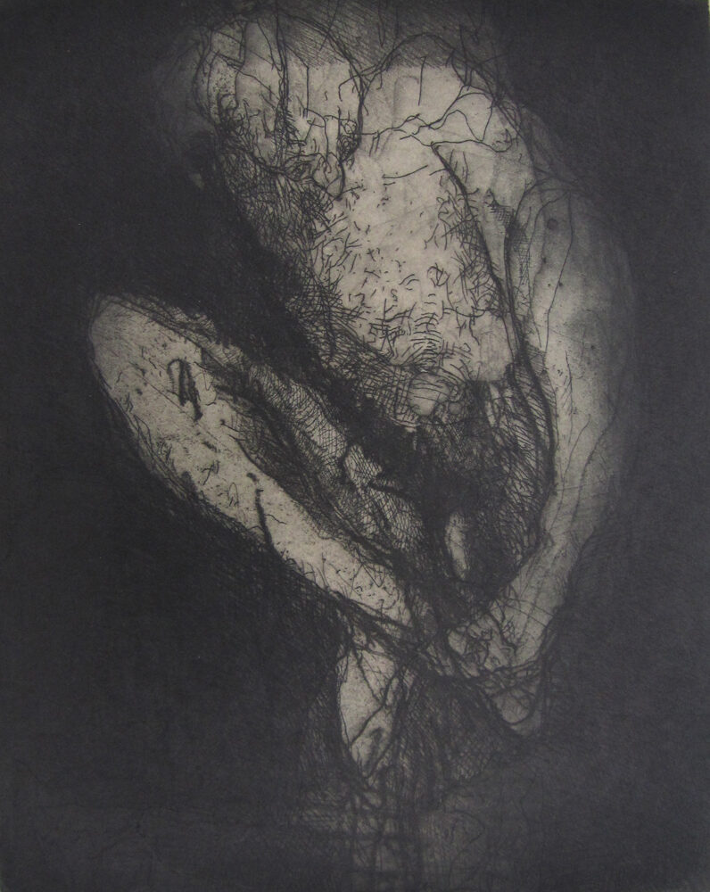 Hughie O'Donoghue Compression original etching aquatint and chine collé signed by artist for sale