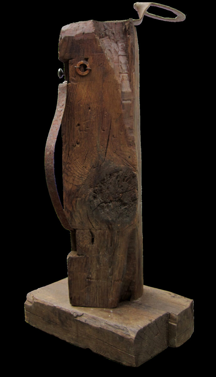 Julain Dyson Untitled Figure (Saint) wooden construction with found metal objects for sale