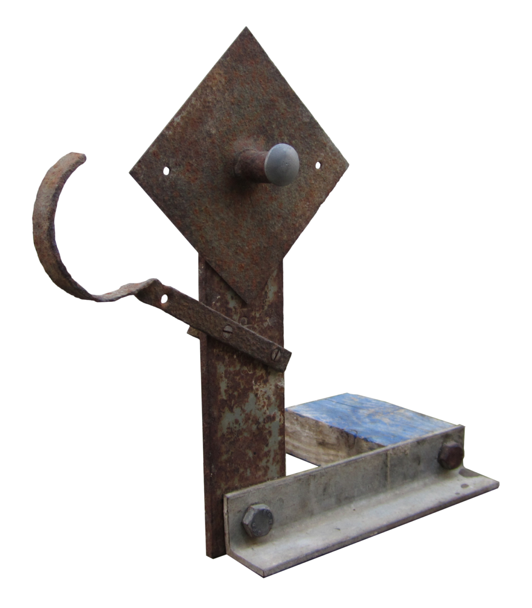 Julian Dyson Untitled Figure (Blue Reaper) Assemblage of found objects on a wood and iron base for sale