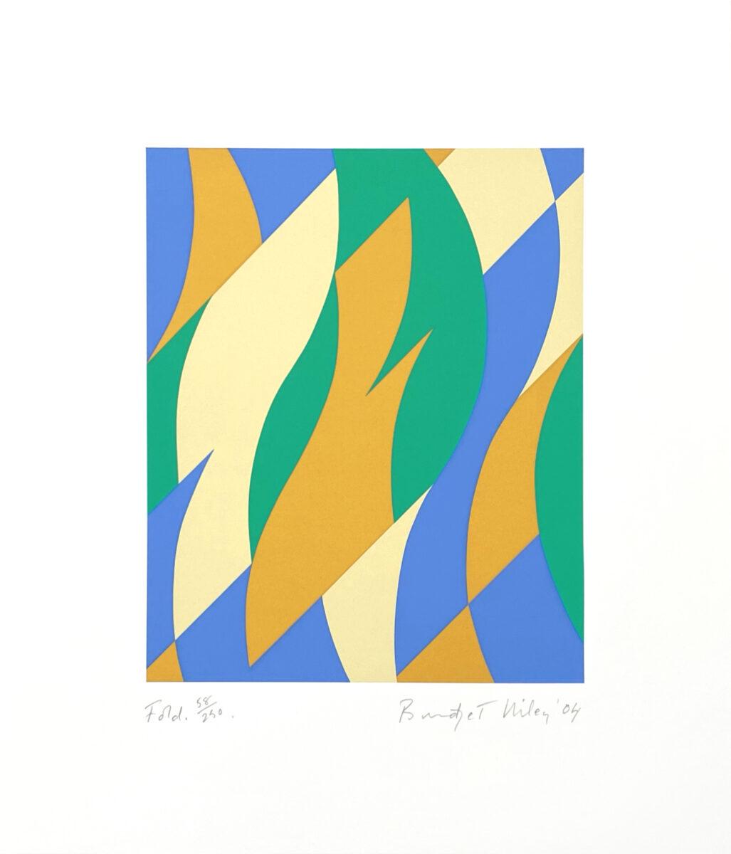 Bridget Riley Fold, original framed signed colour screenprint for sale
