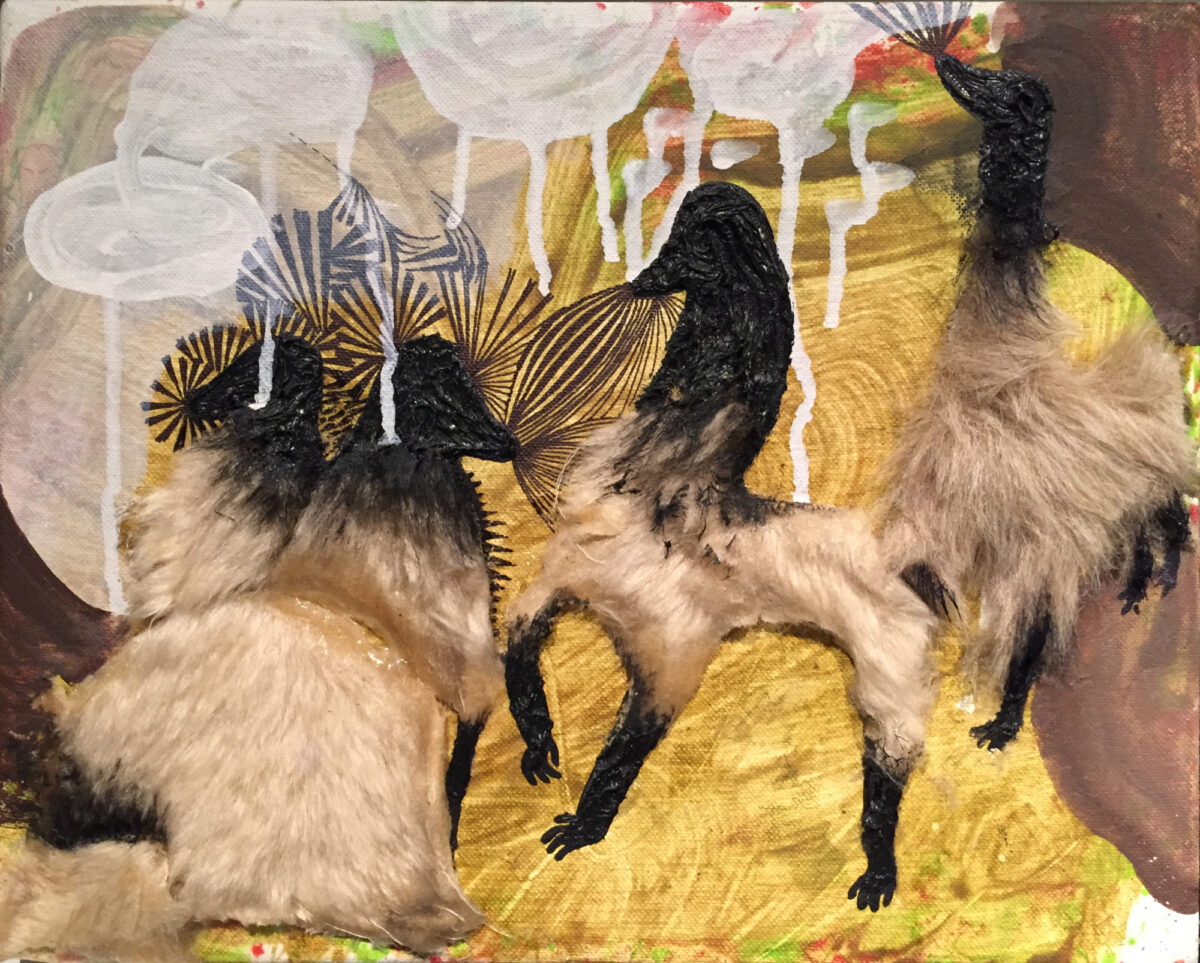 Sebastian Göegel o.T (Camel) signed acrylic and synthetic fur on canvas for sale