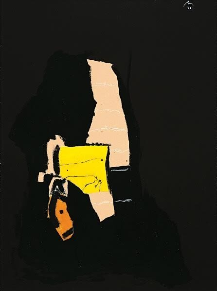 Robert Motherwell Night Dream original acrylic on pasted papers and china marker on canvas board signed