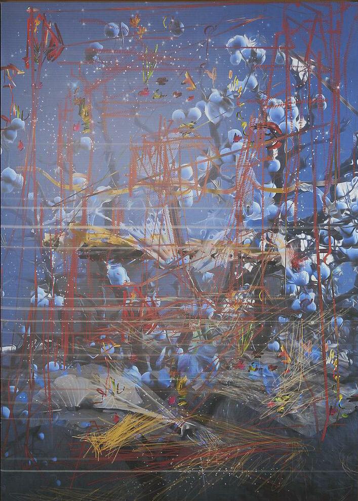 Petra Cortright HOWDOYOUTELLSOMEONEABTMONOPOLYBOARDHORSECOCKS.sax Digital painting on Belgian linen