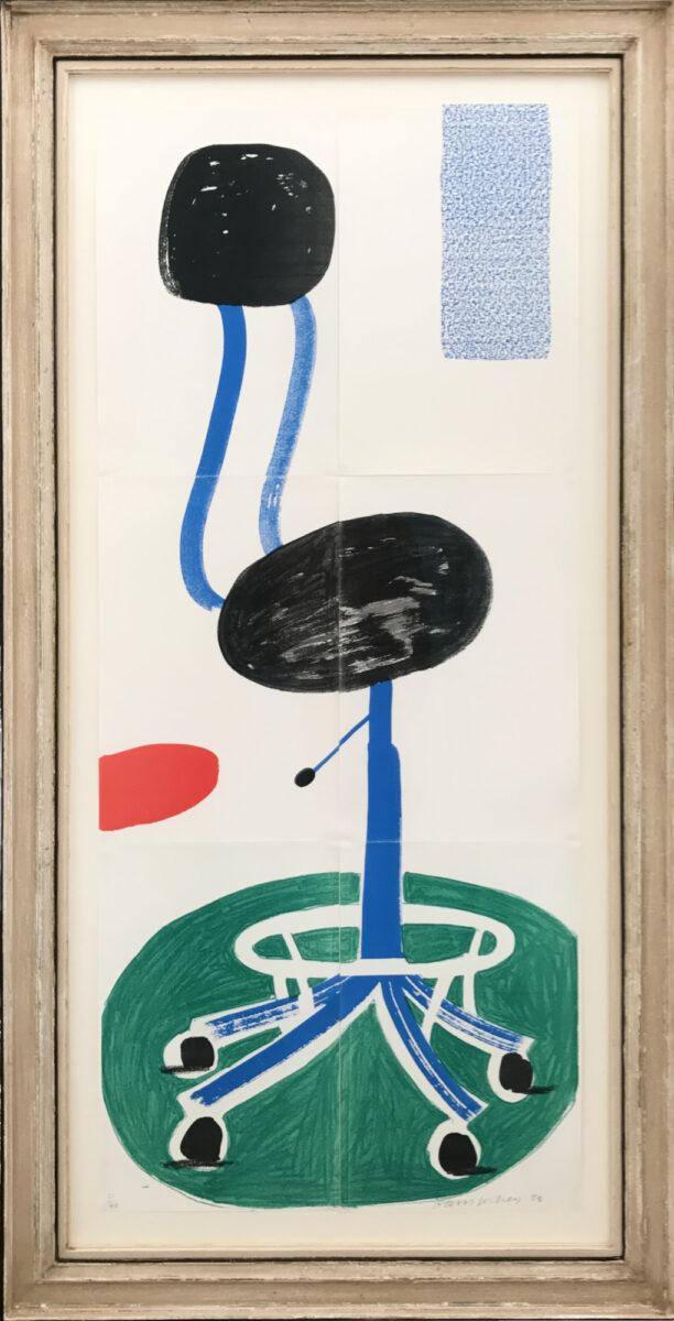 David Hockney Office Chair, original framed home made print for sale