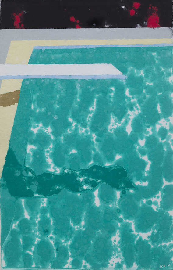 David Hockney Green Pool with Diving Board and Shadow, pressed paper pulp unique work for sale