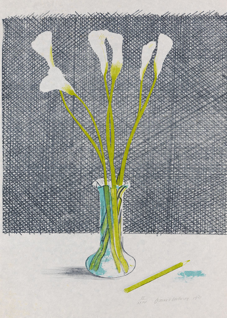 David Hockney Lillies, original lithograph in colours for sale