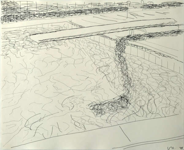 Pool drawing (diving board on right) - David Hockney