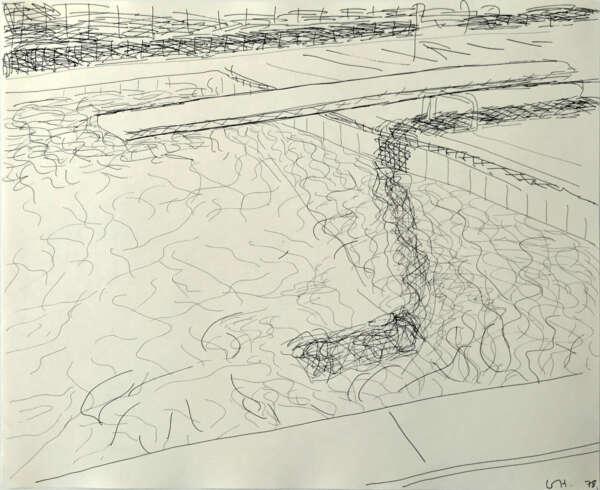 Pool drawing (diving board on right) - David Hockney