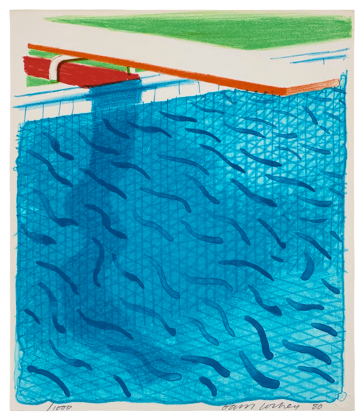 Pool Made with Paper and Blue Ink for Book, from Paper Pools - David Hockney