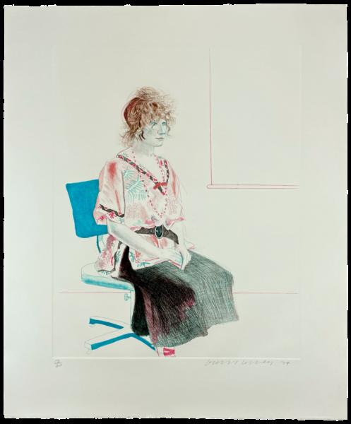 Celia Seated on an Office Chair - David Hockney