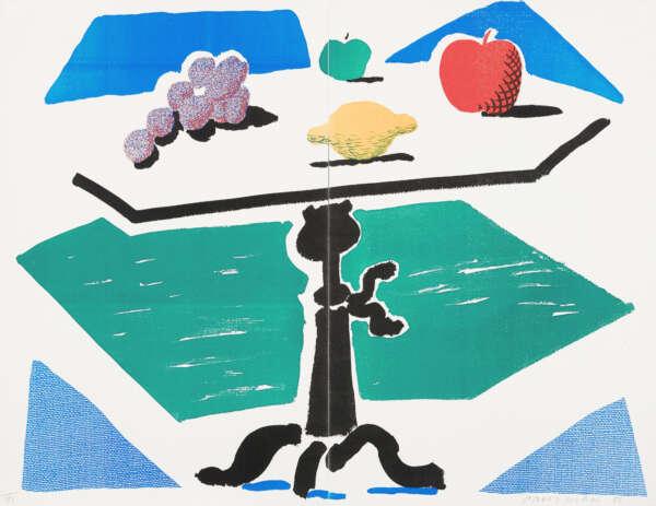Apples, Grapes, Lemon on a Table - David Hockney