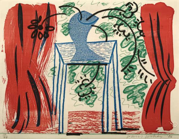 Still Life With Curtains - David Hockney