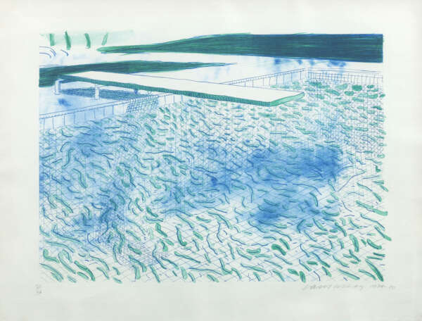 Lithograph of Water made of Lines and a green Wash - David Hockney