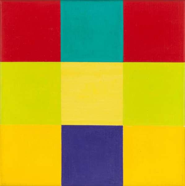 Entwurf B zu waagerechte Dominante mit violettem Quadrat - Richard Paul Lohse